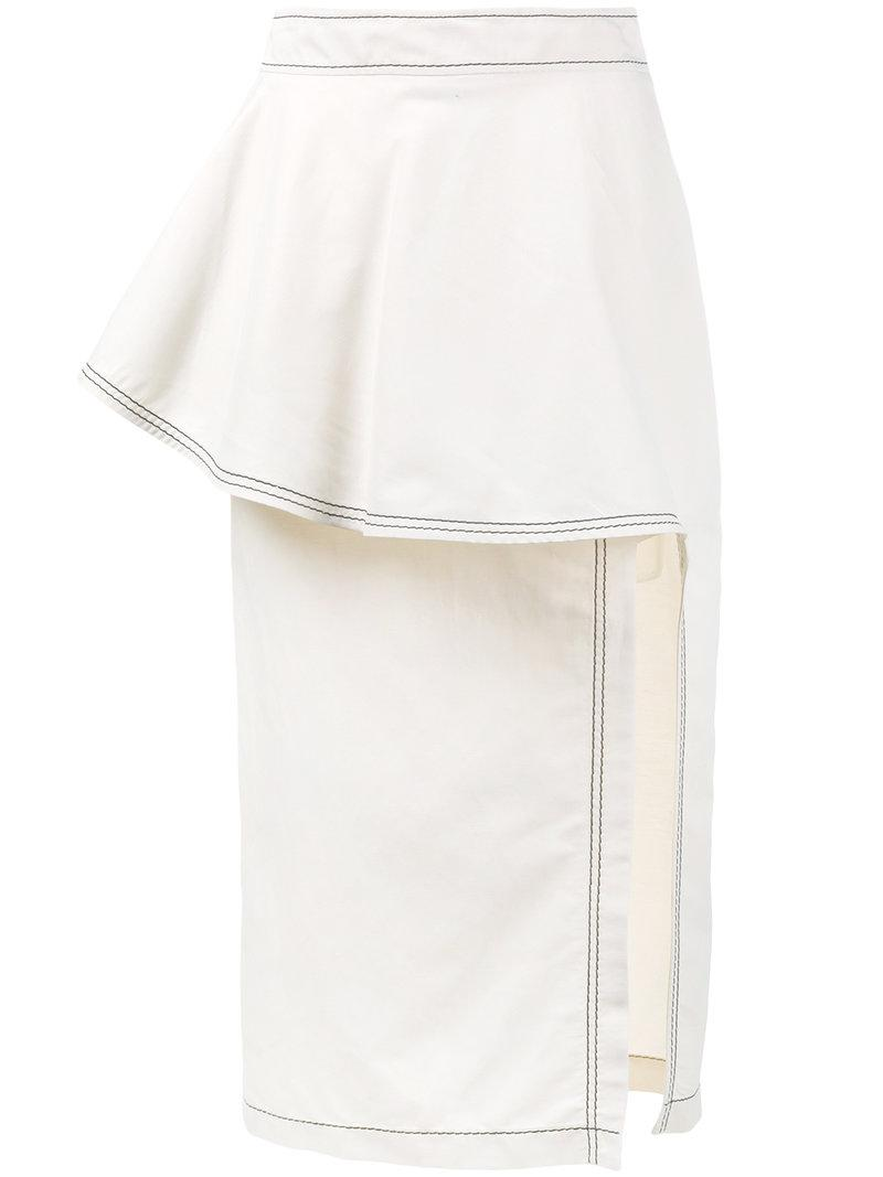 ruffle straight skirt - Nude & Neutrals Stella McCartney Cheap Sale Best Place dv0xH6