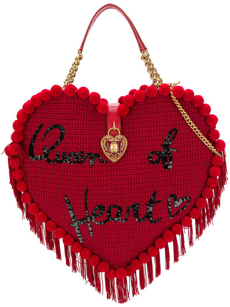 b2ab830f929f Lyst - Dolce   Gabbana My Heart Crochet Bag in Red
