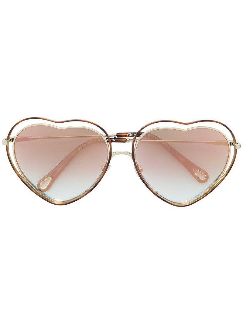 heart shaped sunglasses - Metallic Chlo mVcGzOWRN