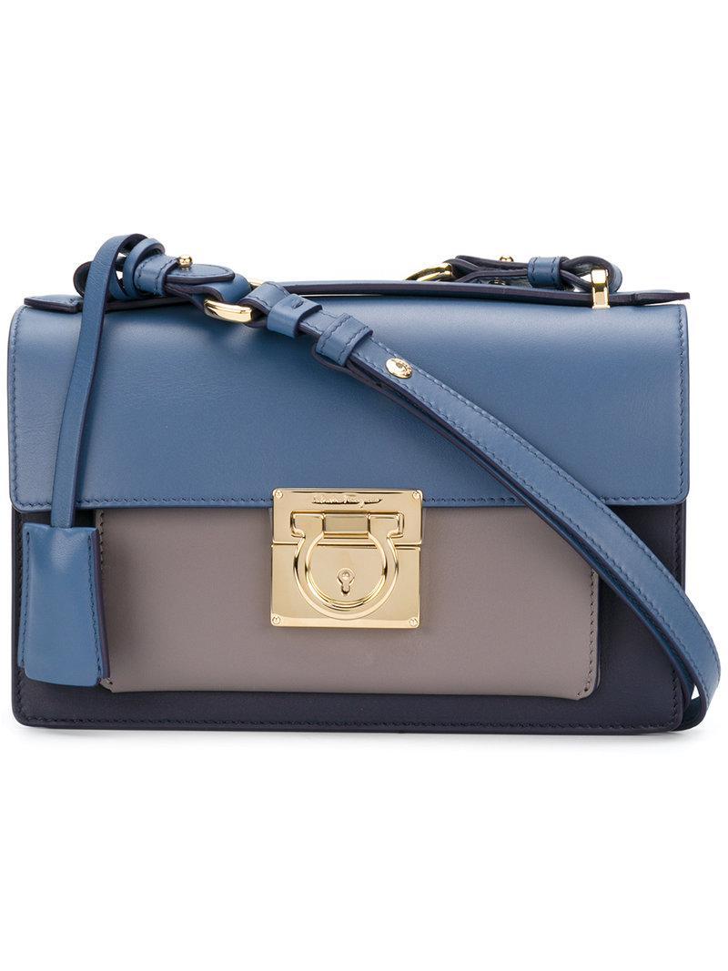 Ferragamo Gancio Lock Shoulder Bag in Blue - Lyst c9d787cc847e8