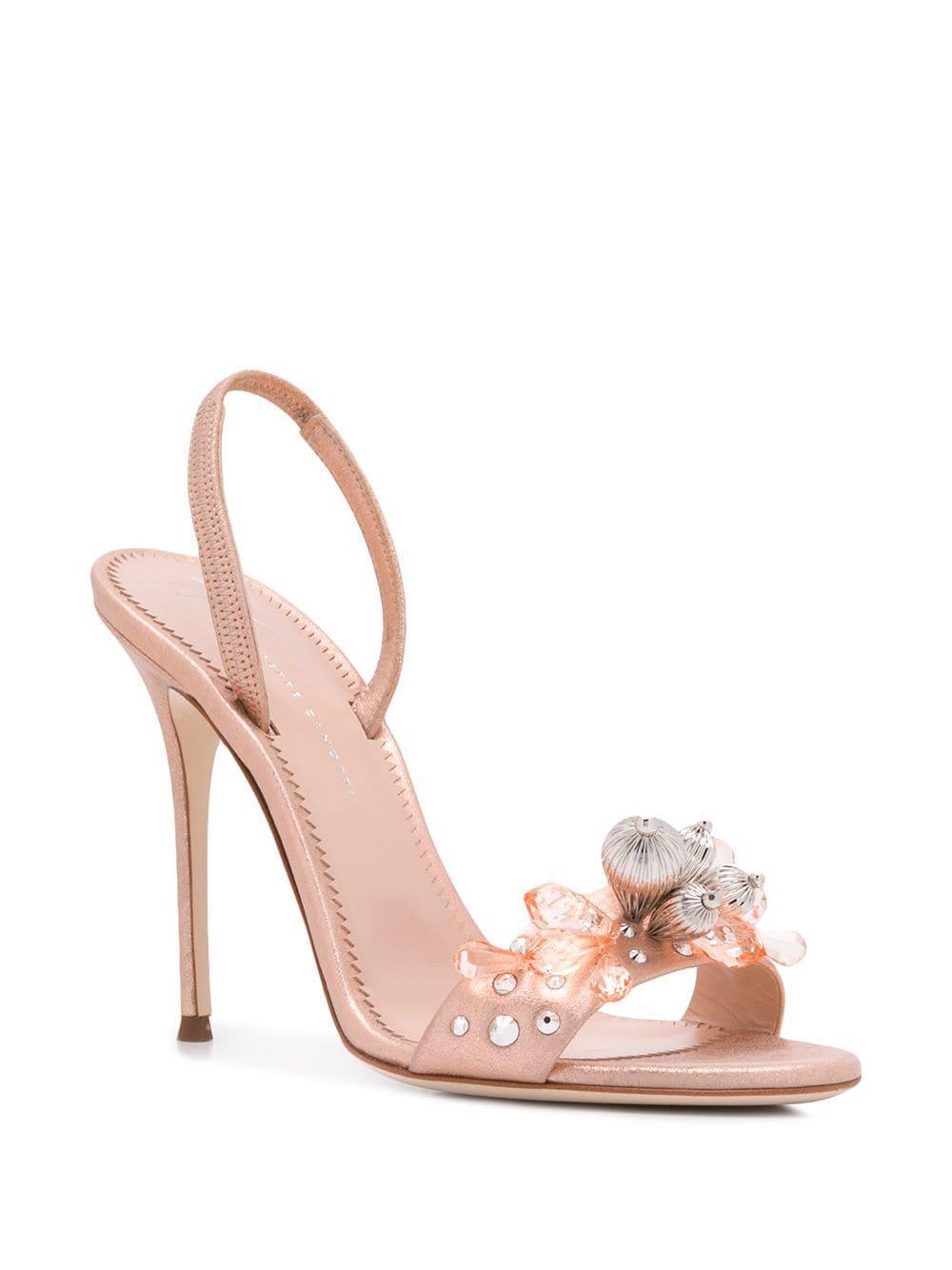 24dd77d6e2a1 Lyst - Giuseppe Zanotti Pearle Gem Sandals in Pink