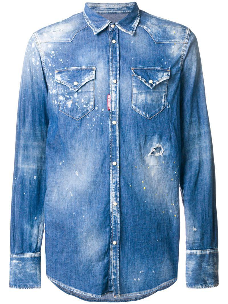 71bc66d158 Lyst - DSquared² Bleached Effect Denim Shirt in Blue for Men - Save 17%