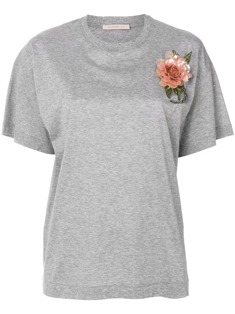 Lyst christopher kane sequin flower t shirt in gray for Sequin t shirt changing