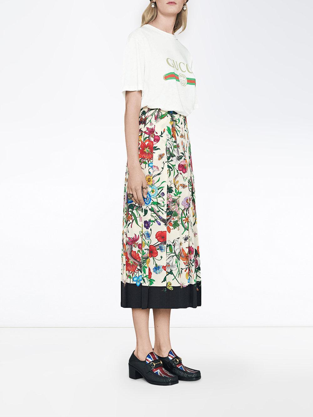 20fdb934eab Gucci Flora Snake Print Skirt - Lyst