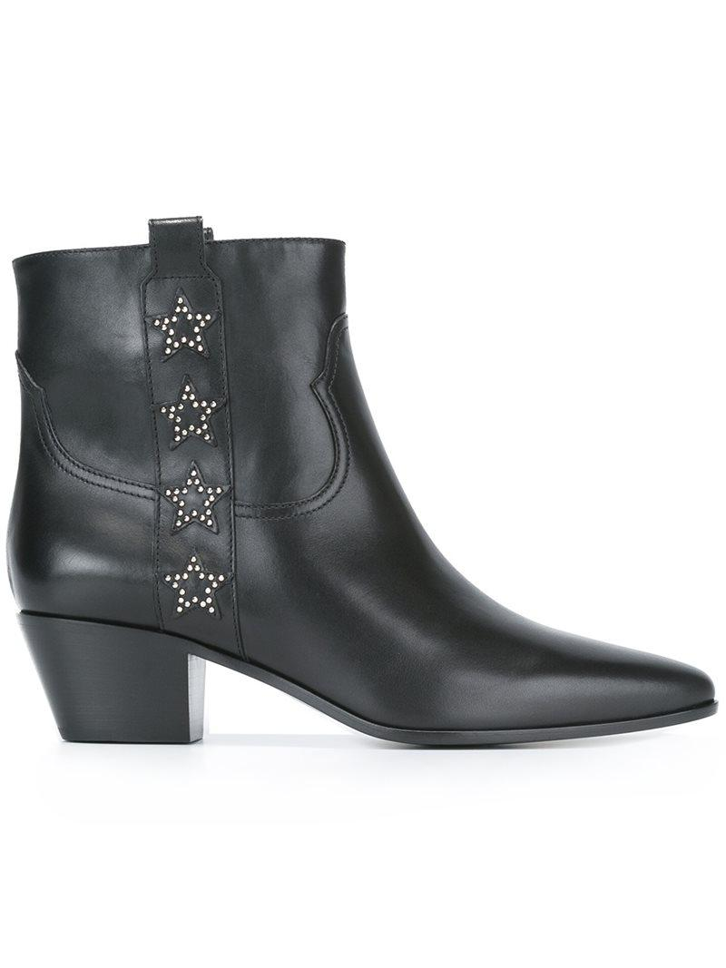 Saint Laurent. Women's Black Rock Star Leather Ankle Boots