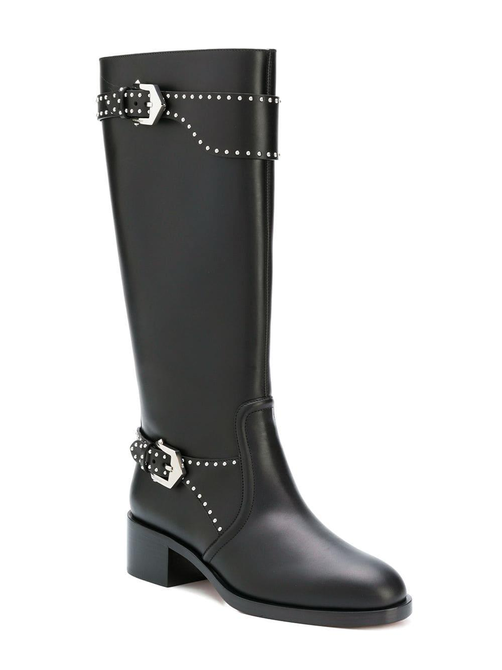 a439b704c78d Lyst - Givenchy Studded Riding Boots in Black