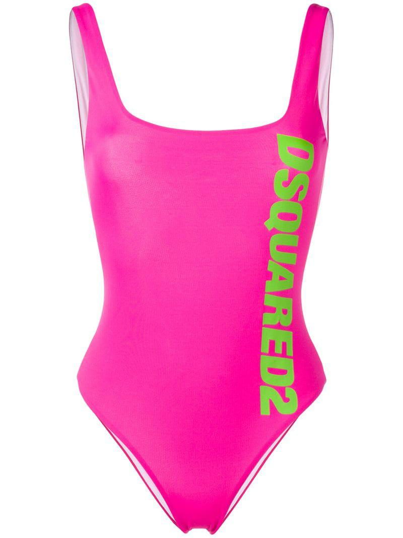 dfc757d579 Lyst - DSquared² Printed Logo One-piece in Pink