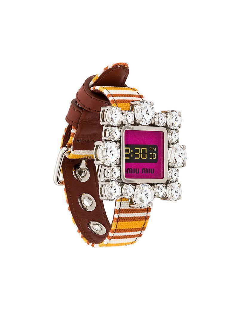 19d4f66c1ee Lyst - Miu Miu Embellished Bracelet in Yellow