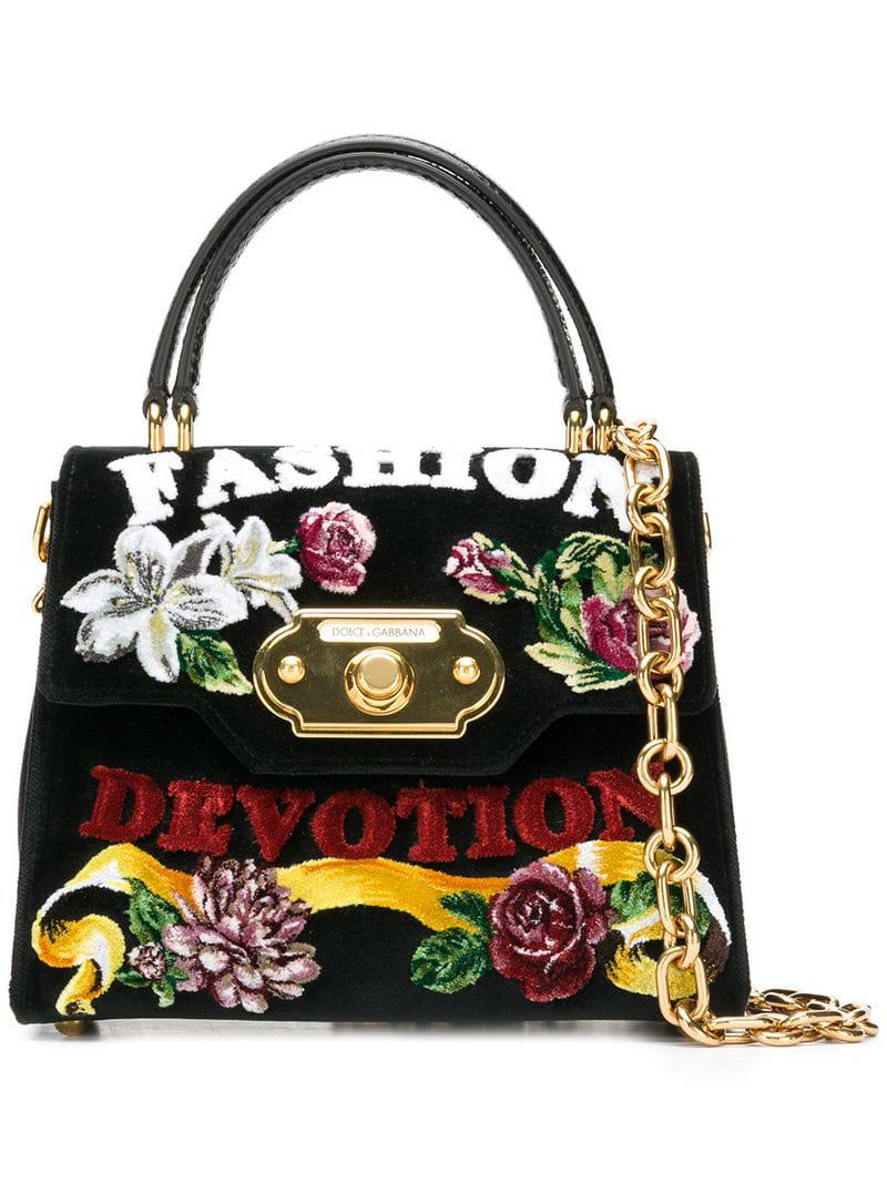 730f2fbbdab Lyst - Dolce   Gabbana Fashion Floral Top Handle Bag in Black