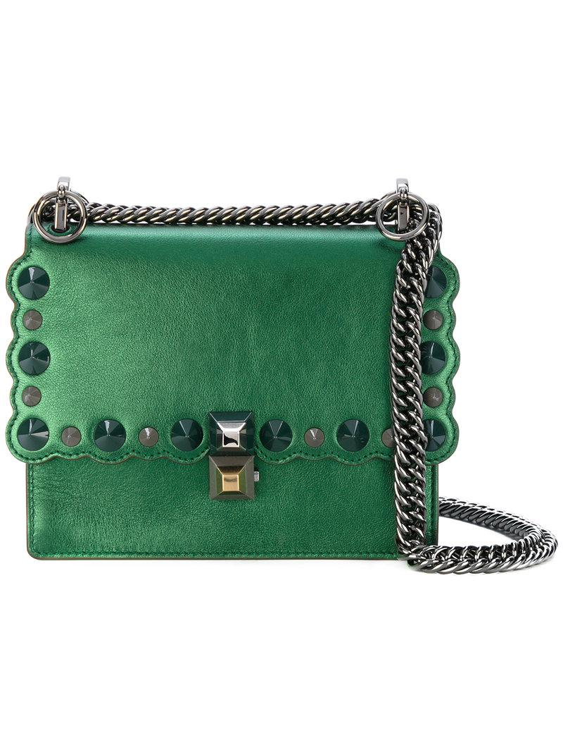 0b1fb2616d75 Lyst - Fendi Small Kan I Crossbody Bag in Green