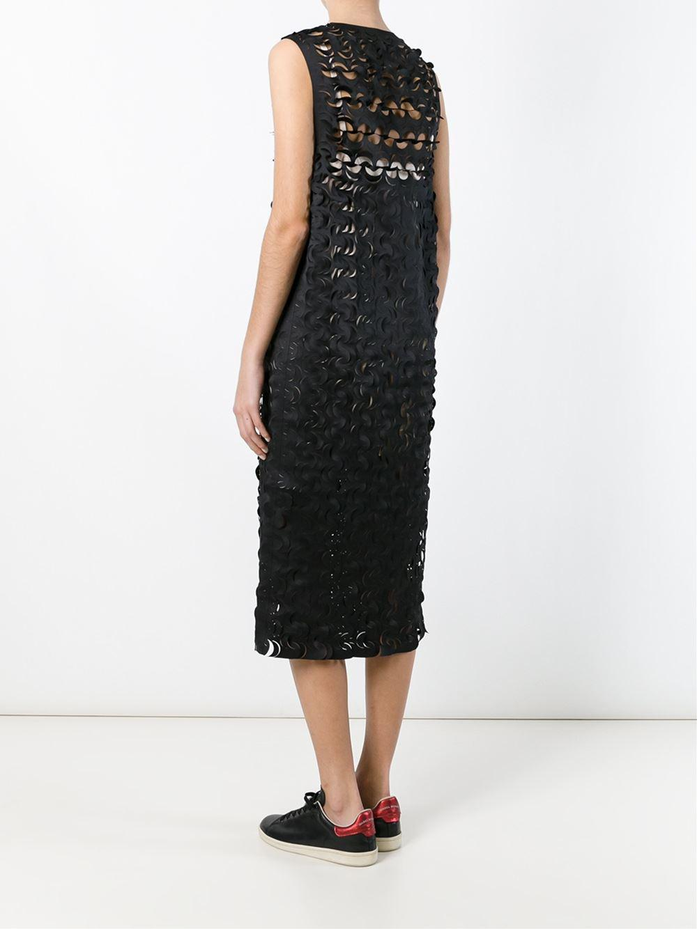 laser cut-out midi dress - Black Paskal 6IalanJZn