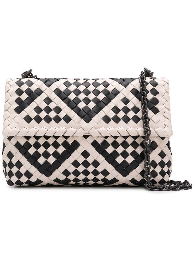 2ed62bf8f105 Bottega Veneta Olimpia Intrecciato Shoulder Bag in White - Lyst