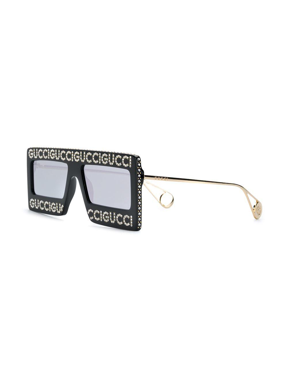 e0c3264677 Gucci Embellished Logo Sunglasses in Black - Save 14.07982261640798 ...