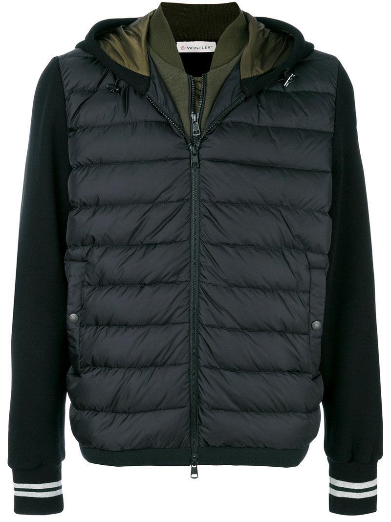 Moncler. Men's Black Padded Front Zip Sweatshirt