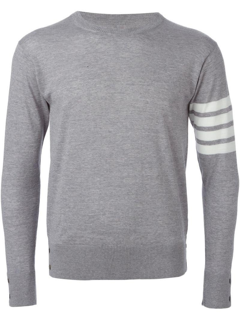 2079229f1b Thom Browne Striped Sleeve Sweater in Gray for Men - Lyst
