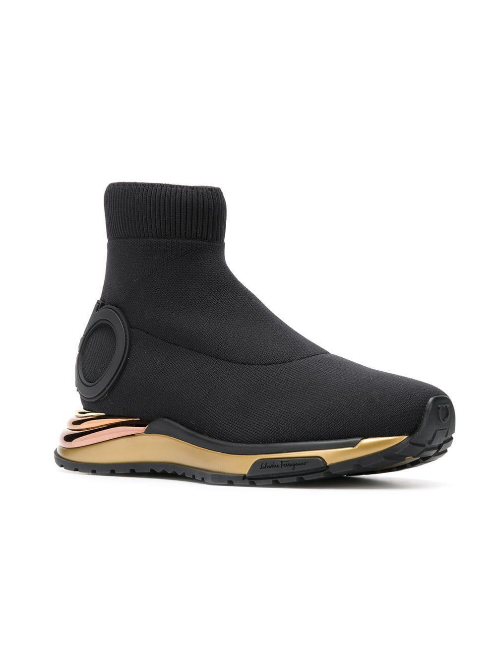 f7c6dde03e Lyst - Ferragamo Hi-top Sock Sneakers in Black - Save 24%