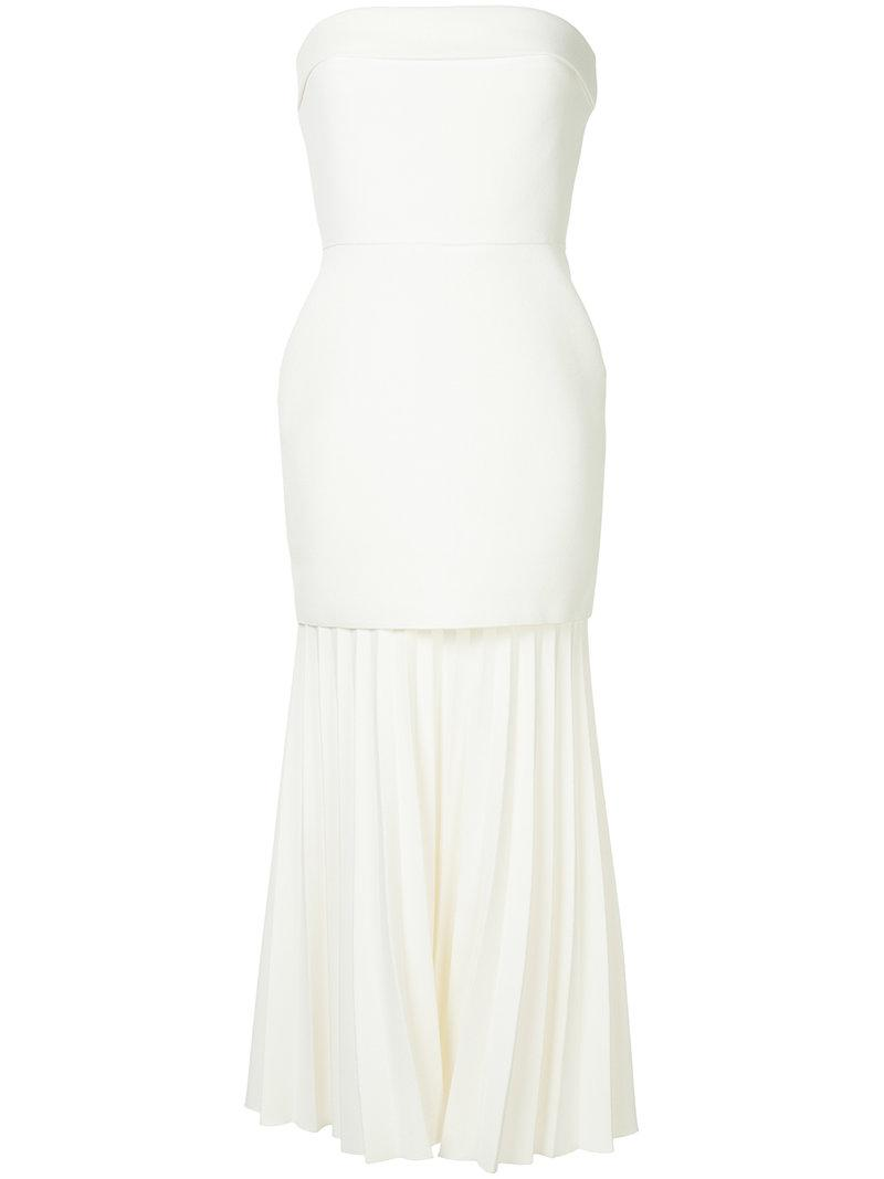 6c0ab91365 Lyst - Dion Lee Pleated Strapless Dress in White