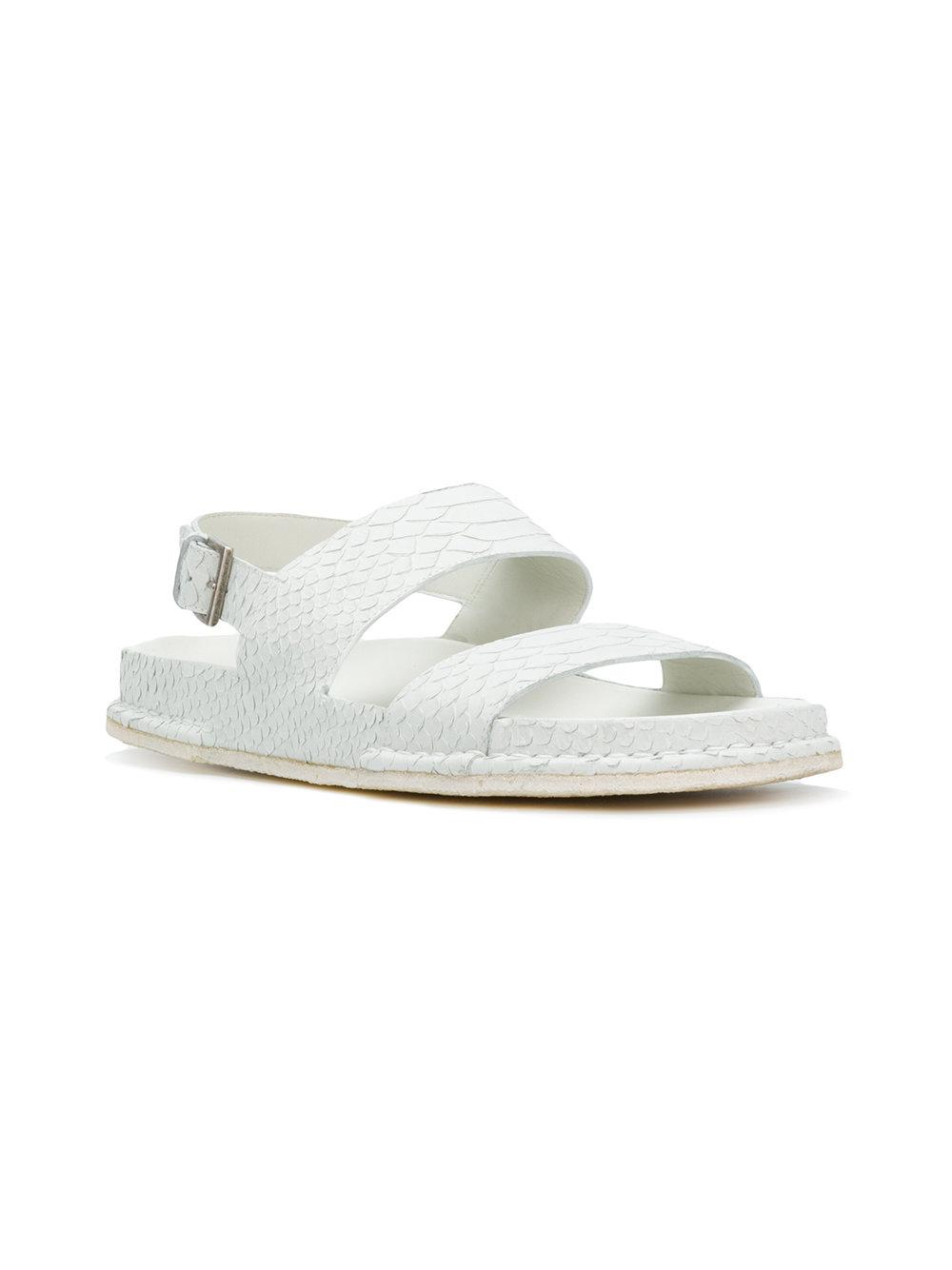 snakeskin effect buckle sandals - White Del Carlo mE8QxtZ1