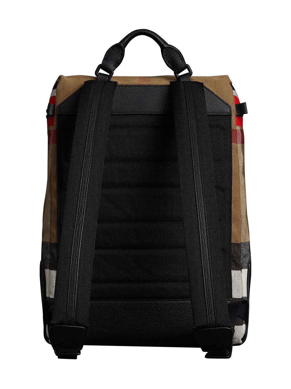 c689356f2 Burberry Zip-top Leather Trim Canvas Check Backpack in Red for Men ...
