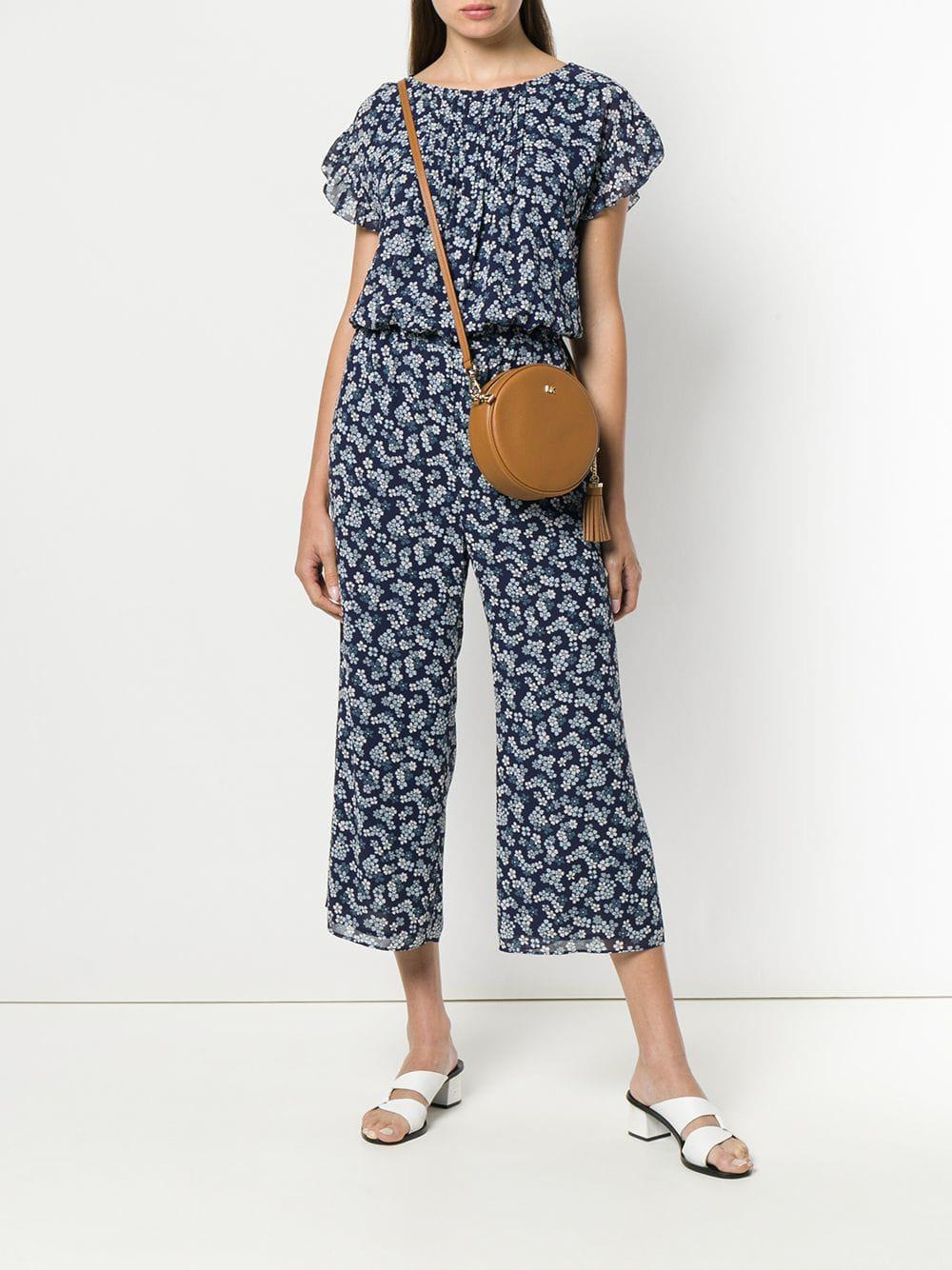 e36a5a74194 MICHAEL Michael Kors Floral Cropped Jumpsuit in Blue - Lyst