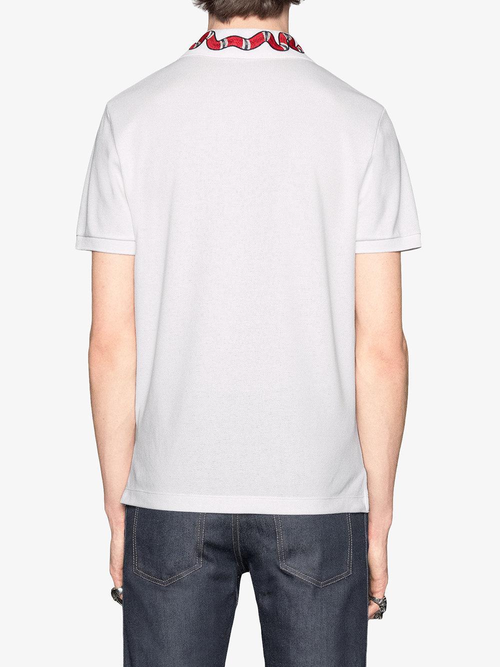 8db413dc Gucci - White Kingsnake Embroidered Polo Shirt for Men - Lyst. View  fullscreen