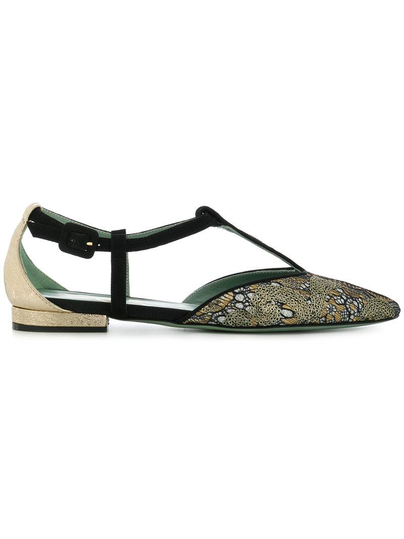 patterned T-bar ballerina shoes - Metallic Paola d'Arcano GDxAuLh