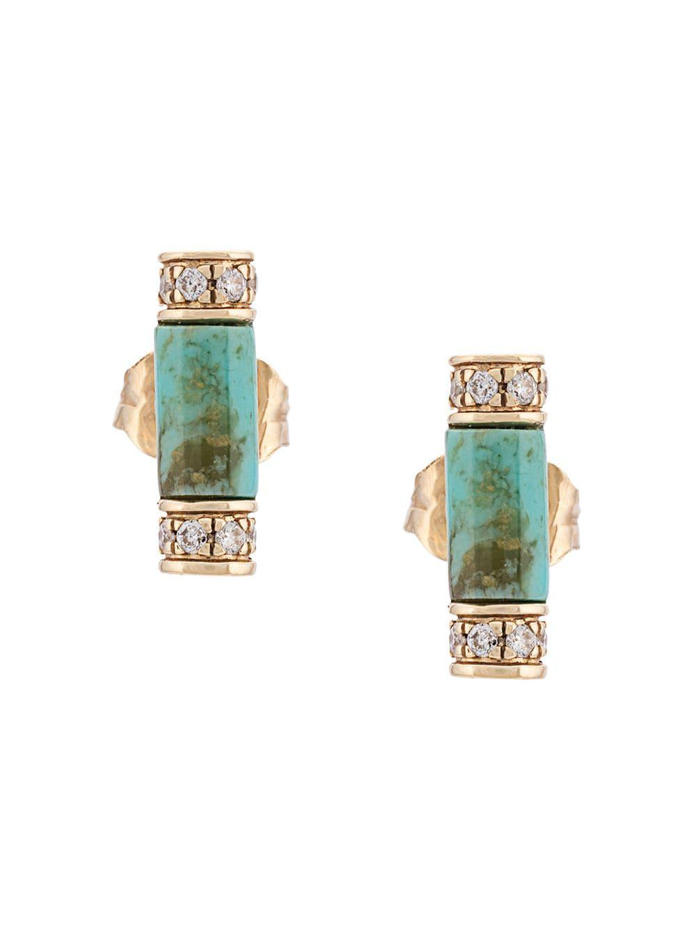 ae3e8654e6bc1 Lyst - Sydney Evan 14kt Yellow Gold Stone Roll Turquoise And Diamond ...