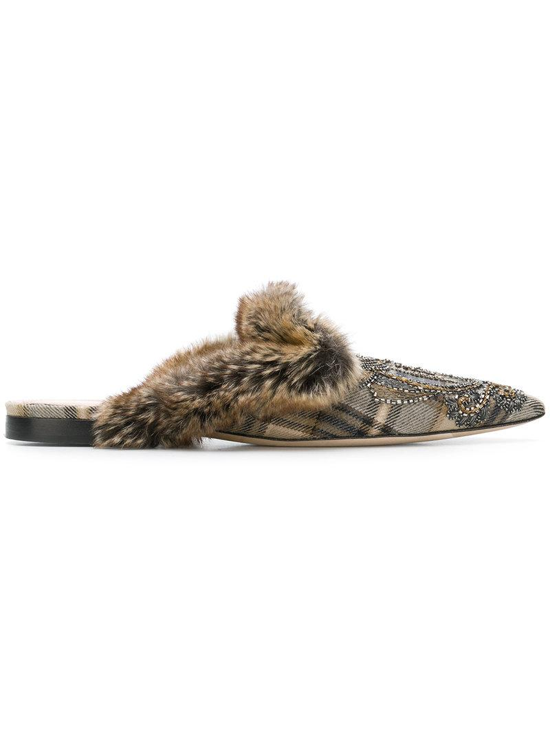 Alberta Ferretti embroidered deer mules outlet free shipping shopping online outlet sale low shipping sale online outlet cheap online visa payment for sale EJiMmfsv4Q