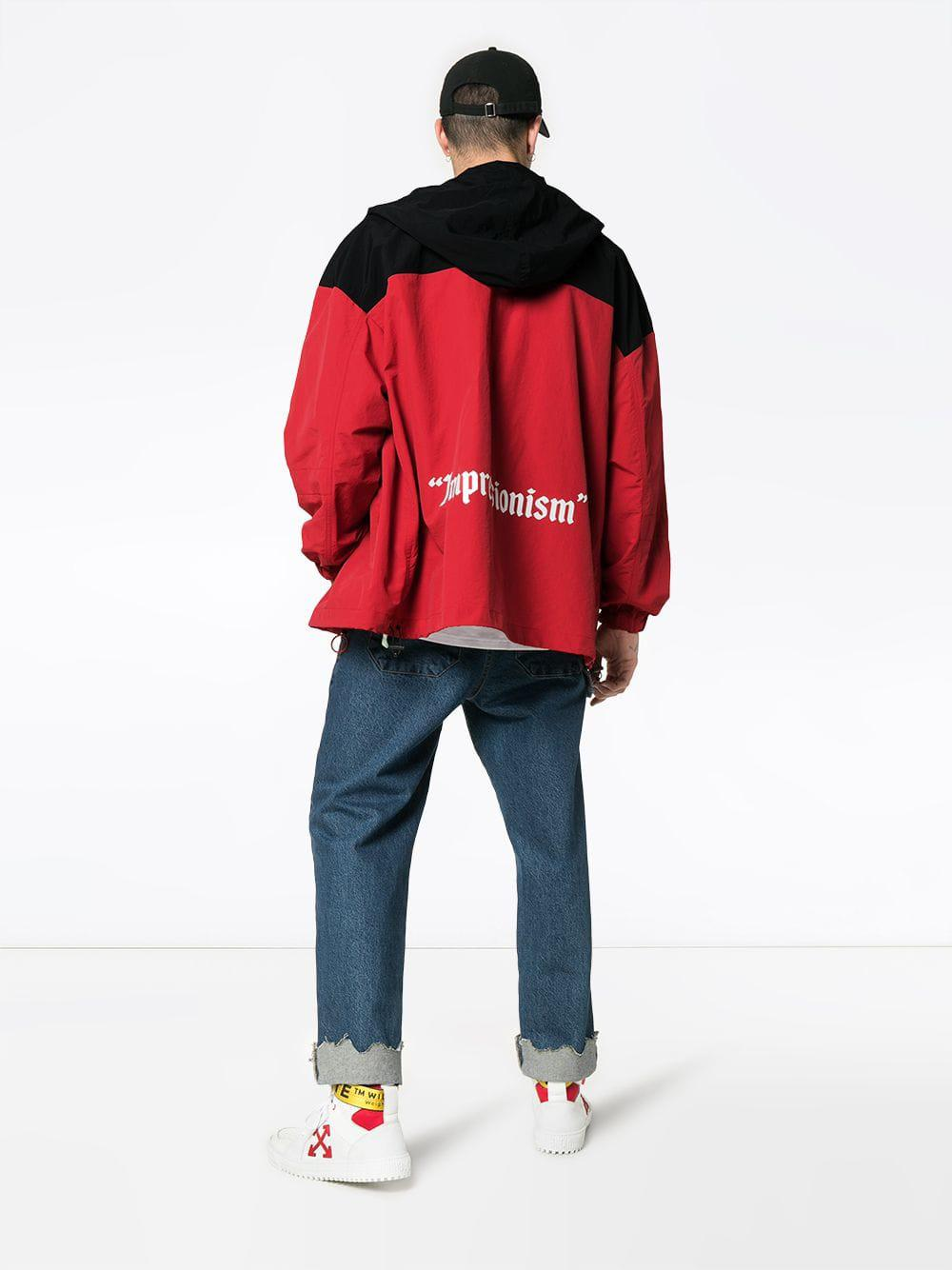 Hooded White Windbreaker Men Red Logo For Co Virgil In Abloh Off 6nqXaX