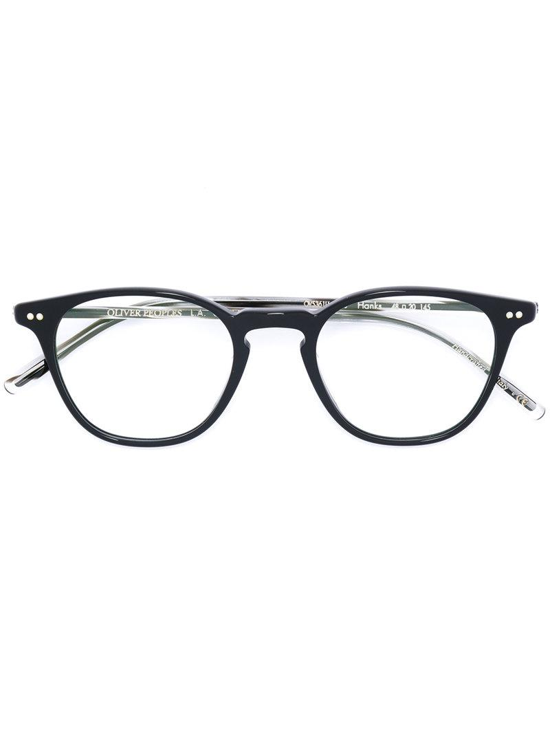 59f9abf057 Oliver Peoples Hanks Round Frame Sunglasses in Black - Lyst