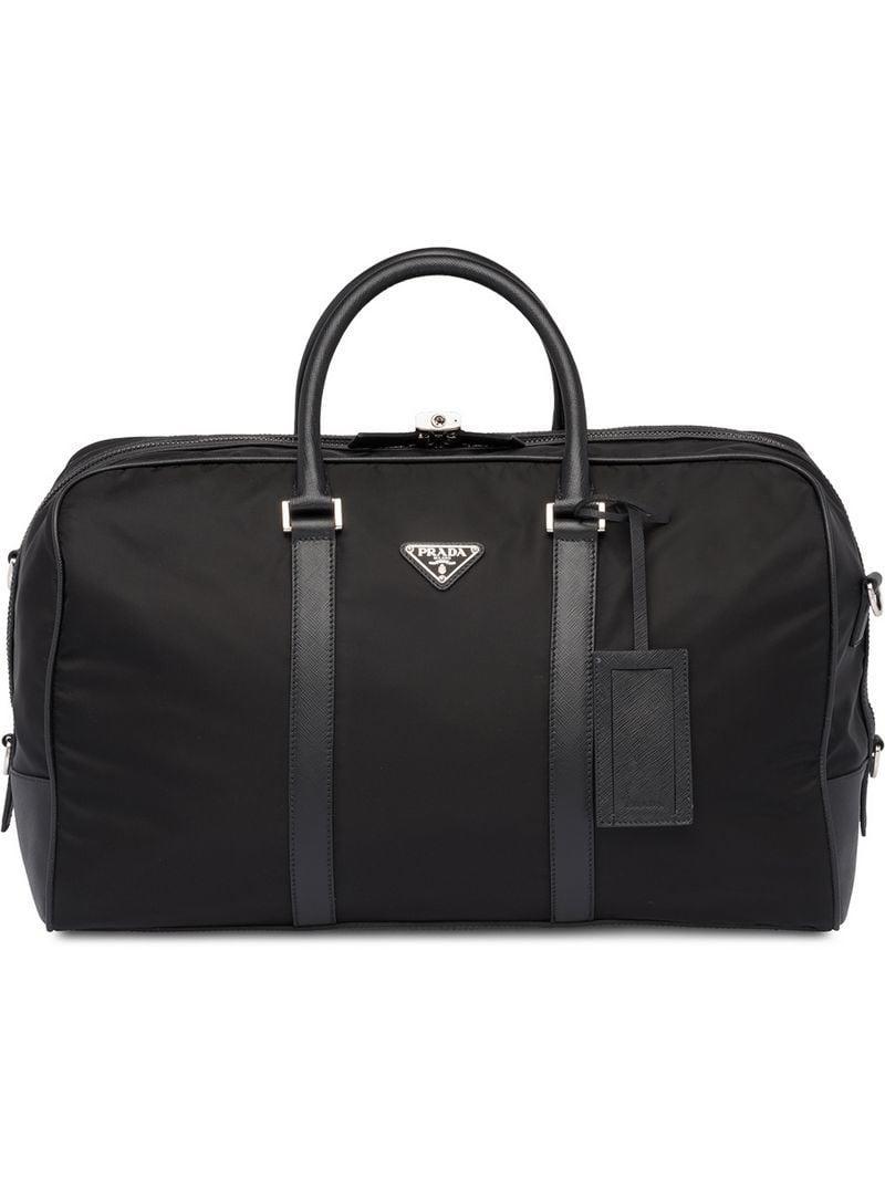 d1094586afa346 Prada Saffiano Leather Trim Duffle Bag in Black for Men - Lyst