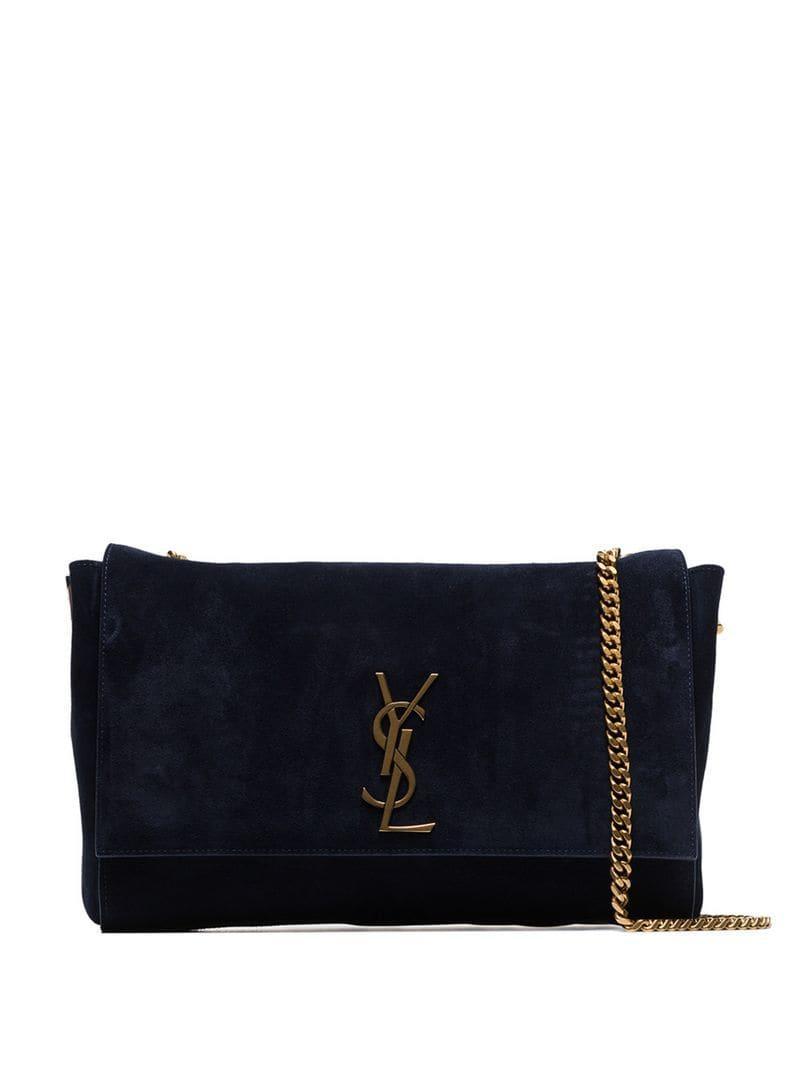 Lyst - Saint Laurent Kate Suede Shoulder Bag in Blue e4c115d733c35
