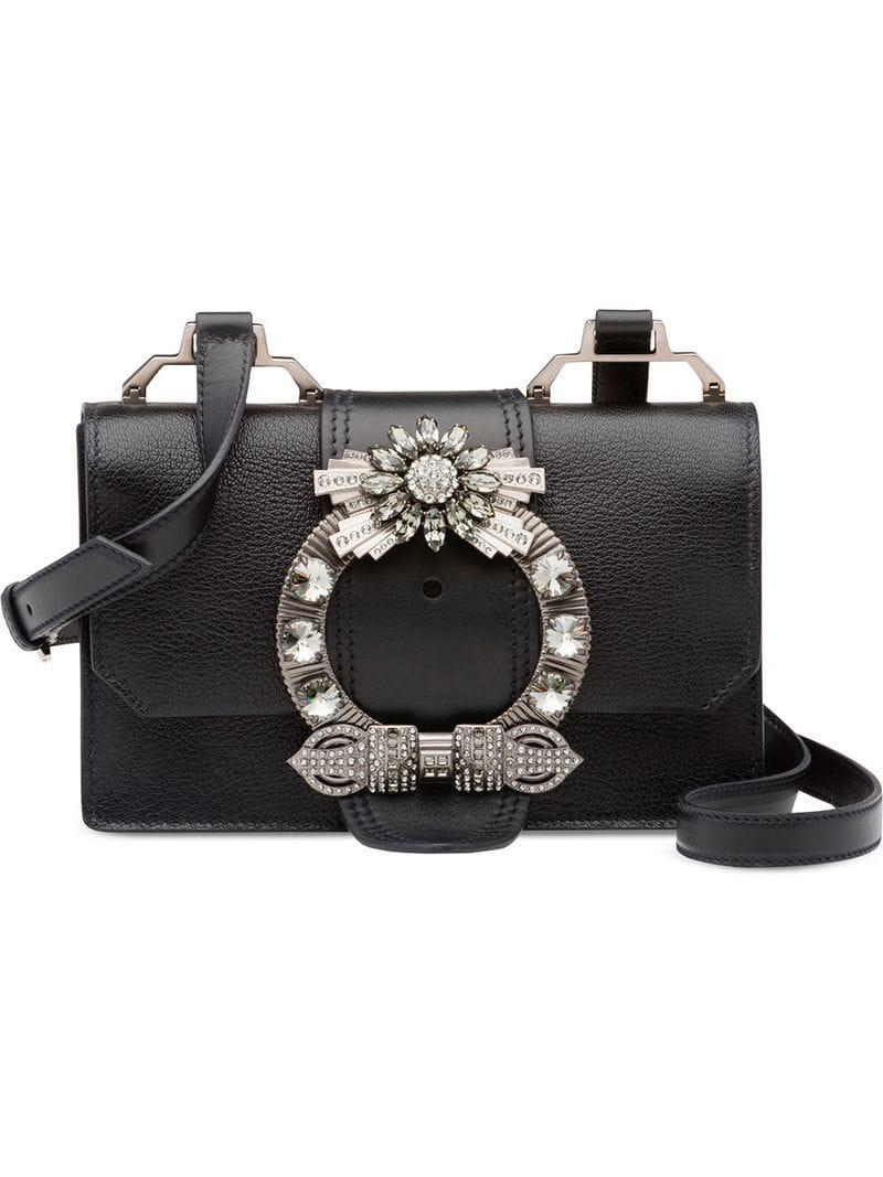 d218ed756579 Lyst - Miu Miu Madras Lady Shoulder Bag in Black