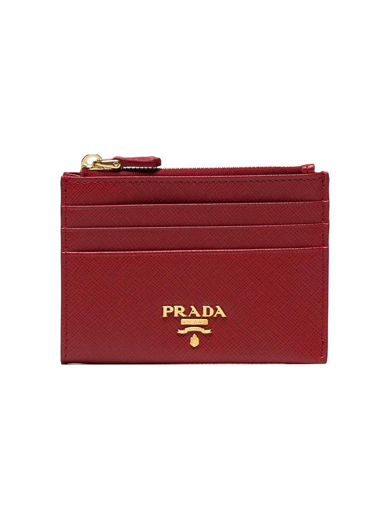 b50356eb96dd75 Prada - Red Saffiano Leather Cardholder - Lyst. View fullscreen