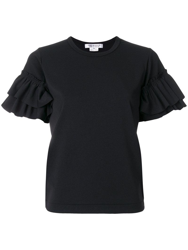Lyst comme des gar ons ruffle sleeve t shirt in black for Frill sleeve t shirt
