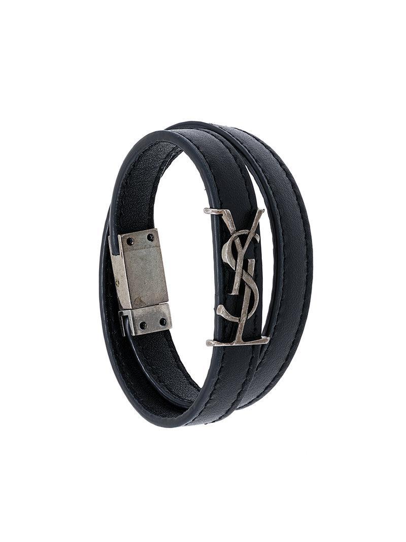 4ff492f2c31 Saint Laurent Ysl Double Wrap Bracelet in Black - Lyst