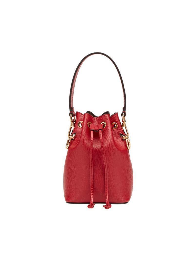 104de0b578 Lyst - Fendi Mon Tresor Mini Bucket Bag in Red