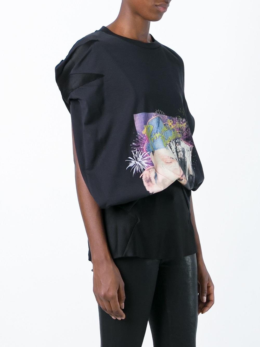 printed cut out detail top - Black Maison Martin Margiela Clearance Looking For w3RWD