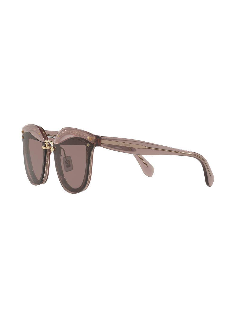 36ff2f41dda Miu Miu Cut Out Glitter Wayfarers in Pink - Lyst