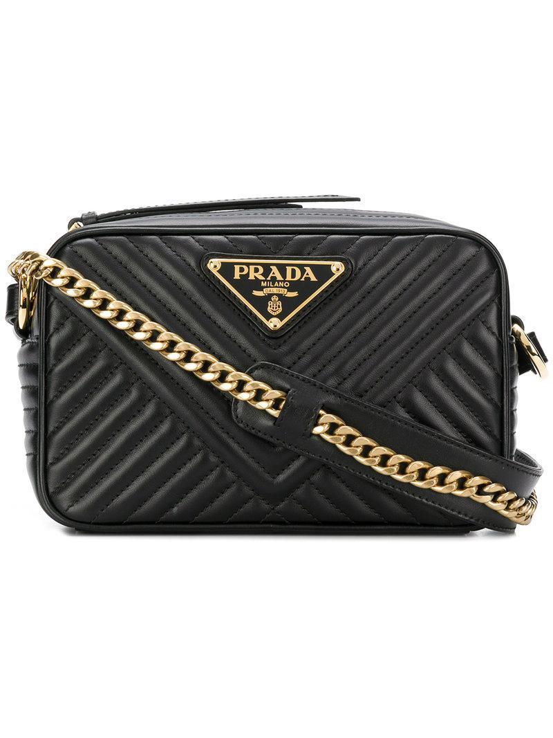 0e842c174b2b Prada - Black Quilted Logo Cross-body Bag - Lyst. View fullscreen