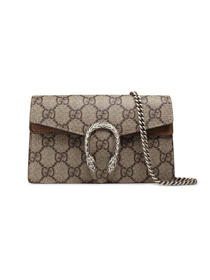 9763f2d719a9 Lyst - Gucci Beige Dionysus GG Supreme Super Mini Bag - Save 7%