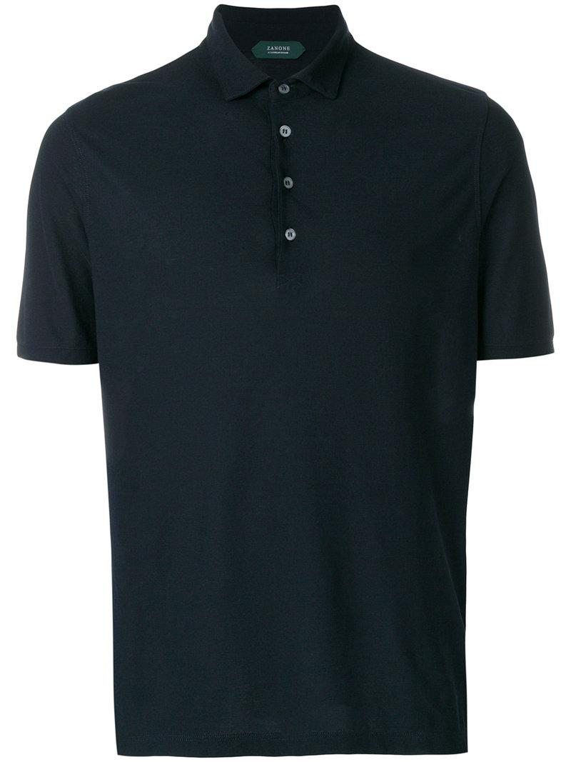 Lyst zanone front button polo shirt in blue for men for Polo shirts without buttons