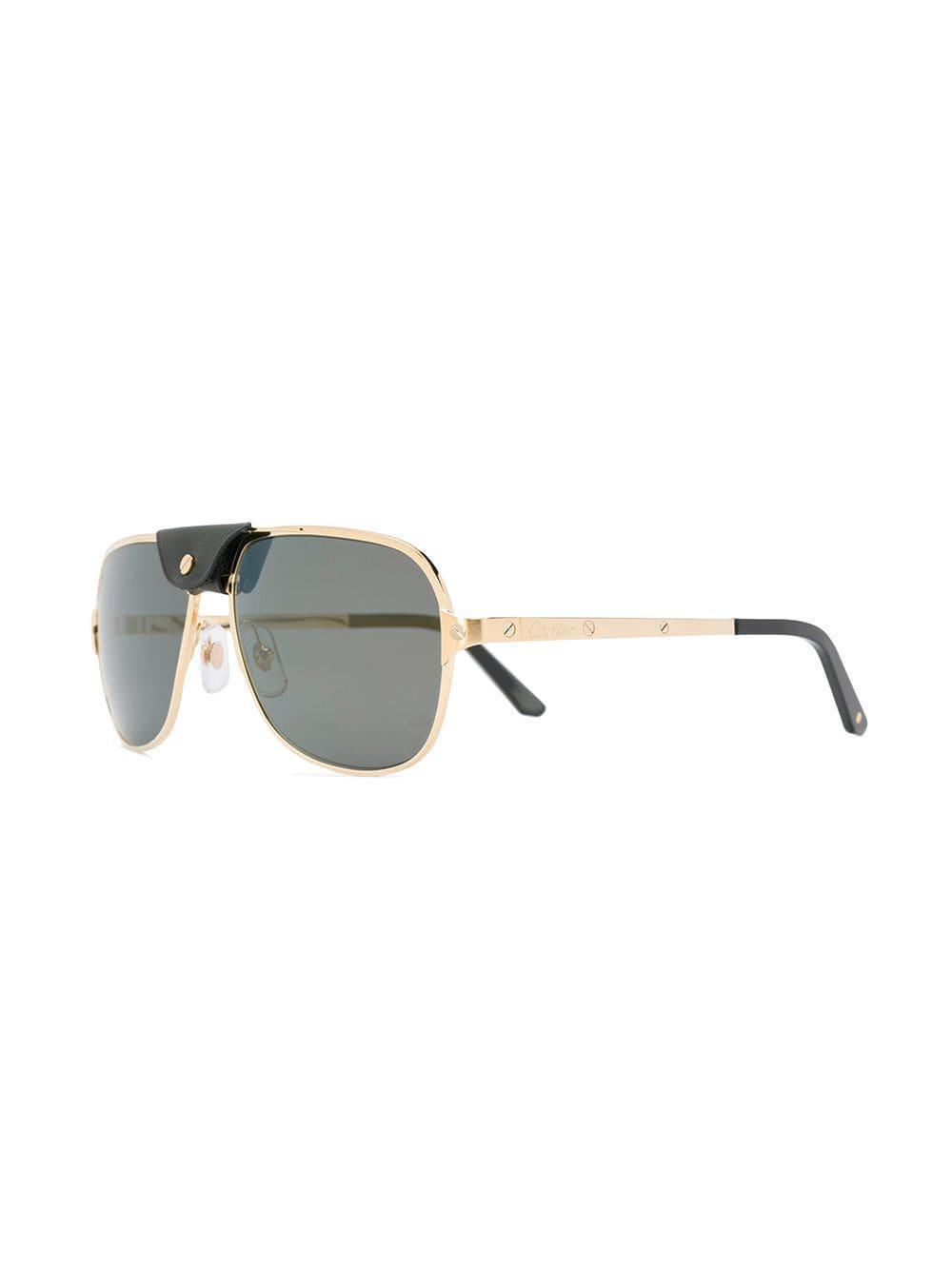 7a585f03ff50 Cartier Santos De Sunglasses in Metallic - Lyst