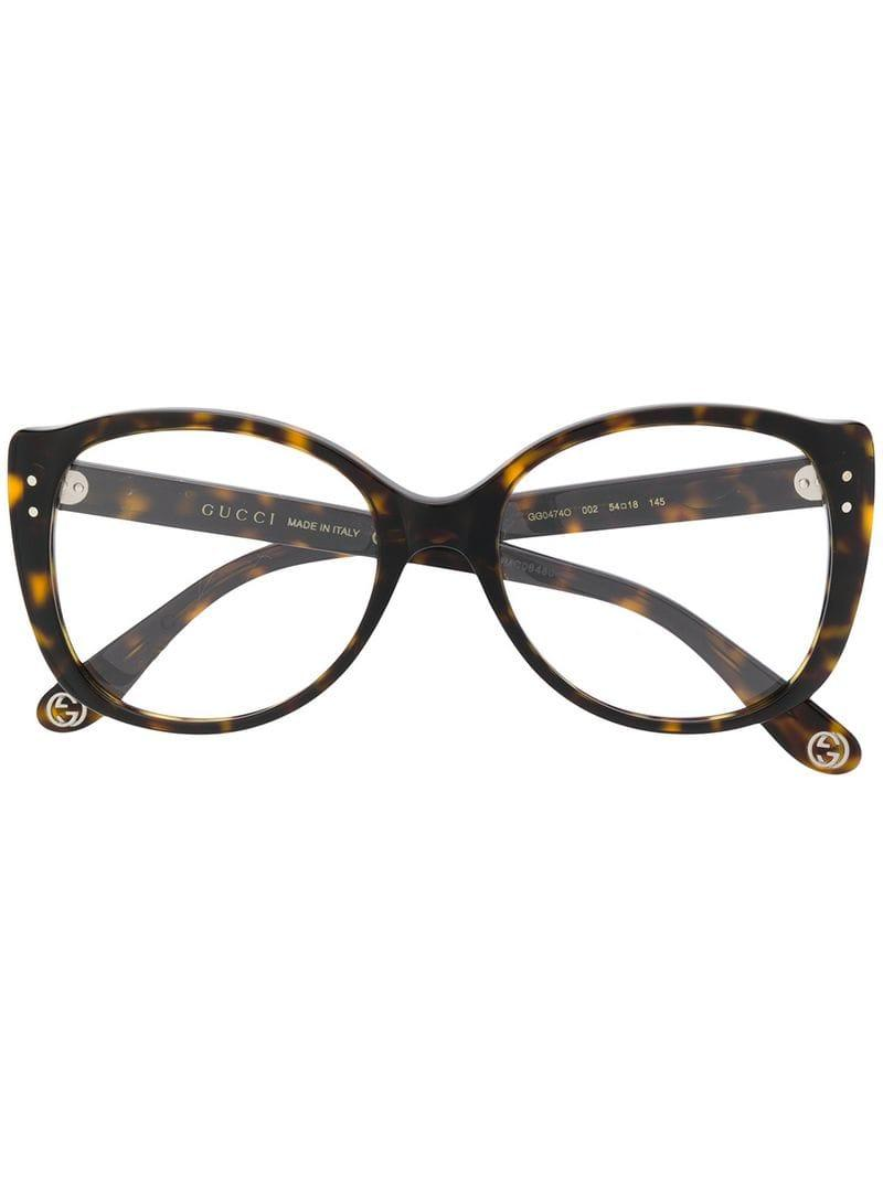 b30d7225c88 Gucci Round Frame Glasses in Brown - Lyst