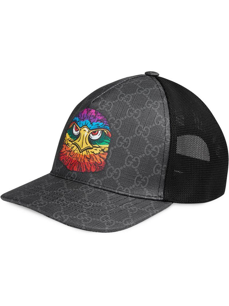 Lyst - Gucci GG Supreme Baseball Hat With Eagle in Gray for Men 85c4c783b3d9