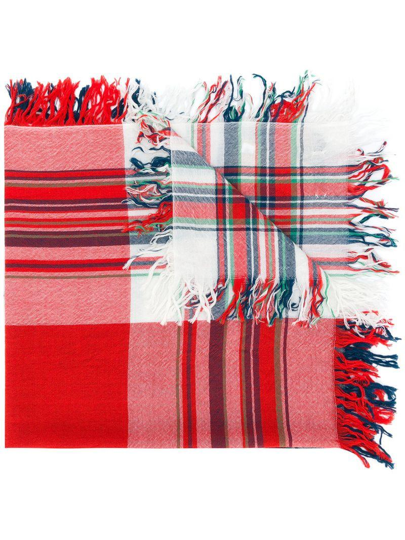 7436a5e1ed77 Burberry Check Fringed Scarf in Red - Lyst