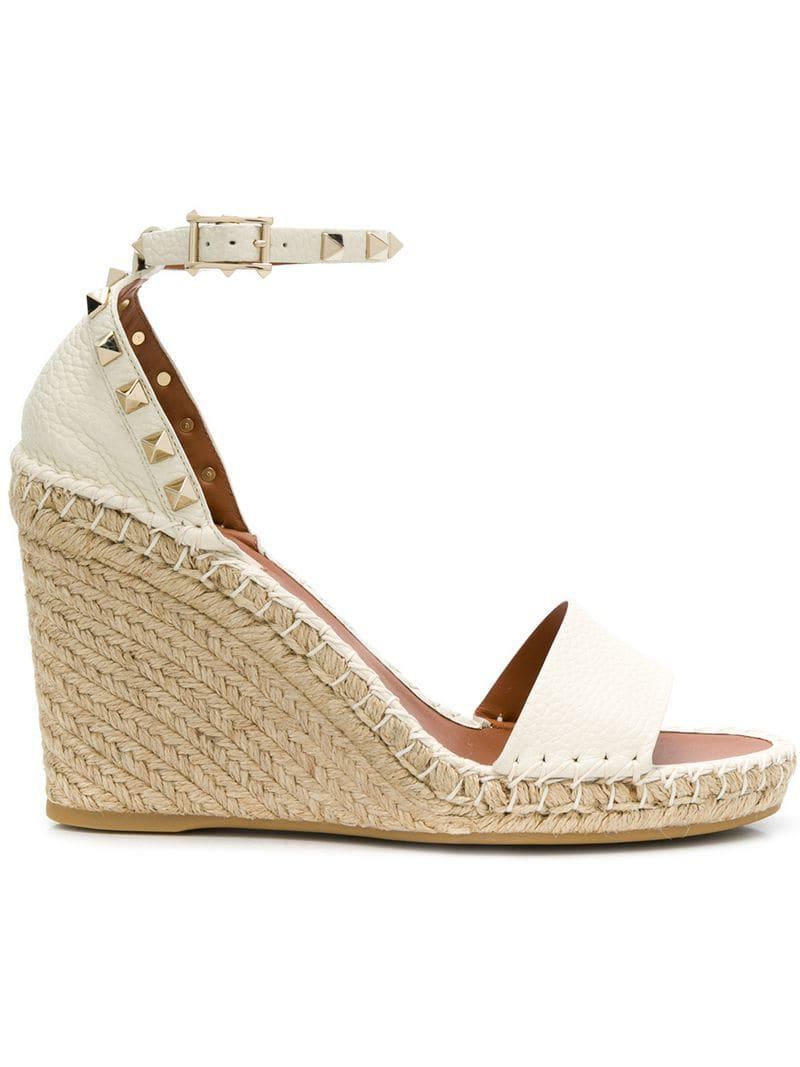 f3d3307d3c6f Lyst - Valentino Light Ivory Rockstud Double Wedge Espadrille in White
