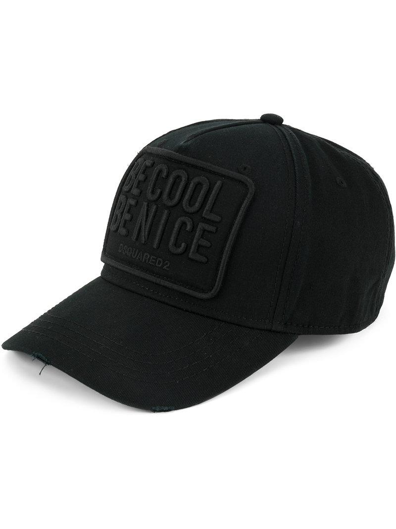 84e858a3215 Dsquared² Be Cool Be Nice Baseball Cap in Black for Men - Lyst
