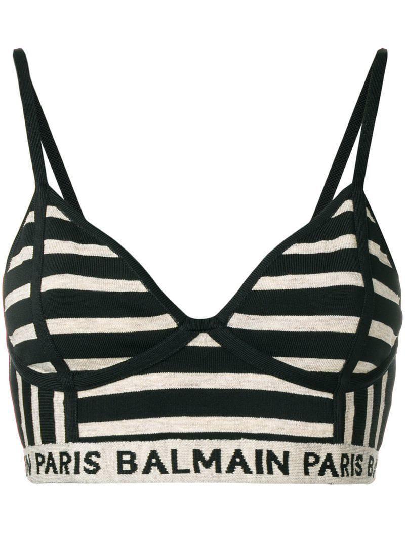f47e265468 Balmain Striped Woven Bralet in Black - Lyst