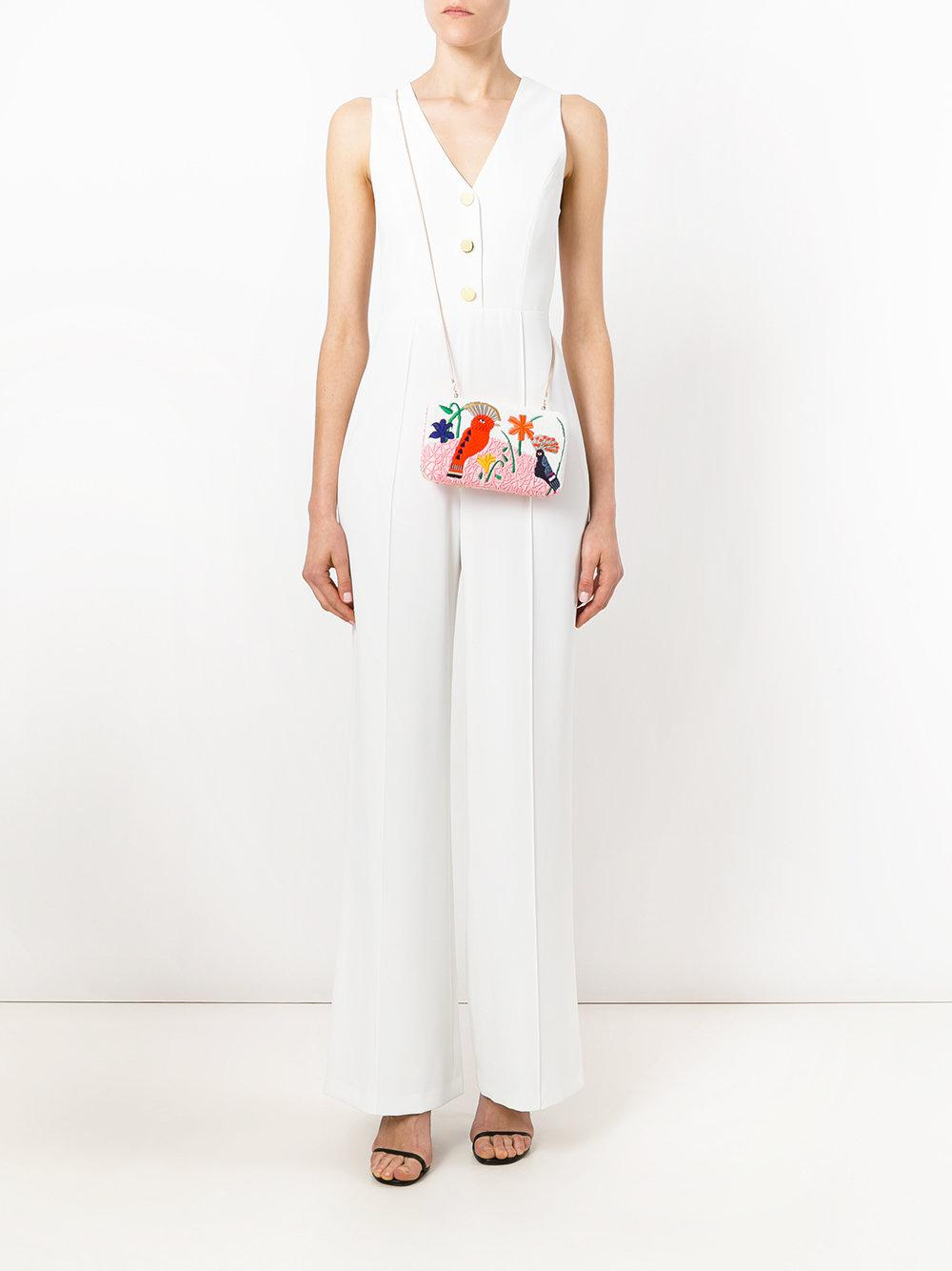 16cac2a9ae06 Alice + Olivia - White V-neck Jumpsuit - Lyst. View fullscreen